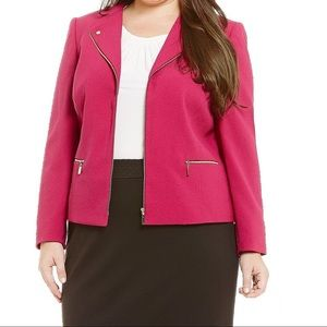 Tahari Magenta & Gold Zipper Knit Moto Jacket 12
